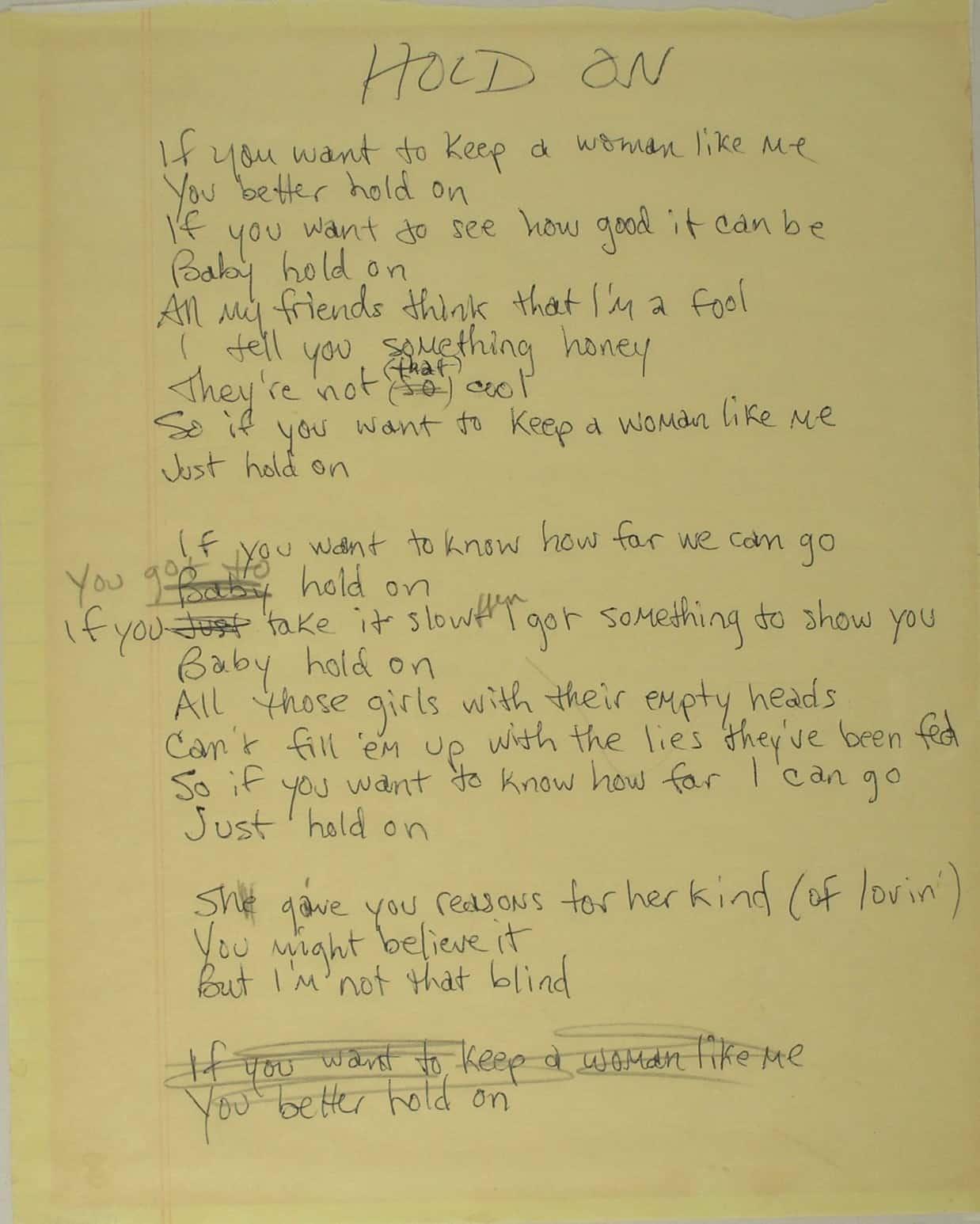 "Rosanne Cash's original, handwritten lyrics to ""'Hold On,"" a hit single from her 1985 album, Rhythm and Romance. Courtesy of Rosanne Cash"