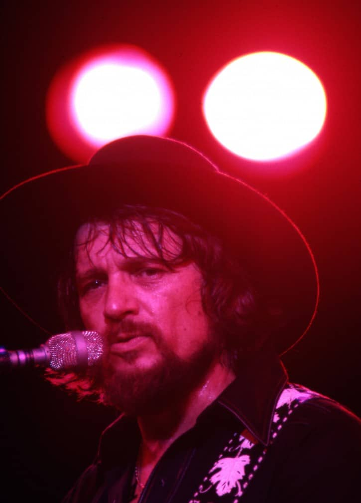Waylon Jennings at Willie Nelson's Fourth of July Picnic, 1978. Photo by Leonard Kamsler