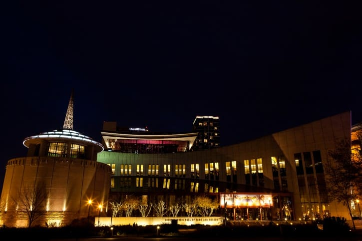 Country Music Hall of Fame exterior night time