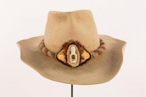 Lesson 2: Willie Nelson gave Bobby Bare this hat--embellished with a mink skull, gemstone, feathers, and snake skin--in the early 1970s.