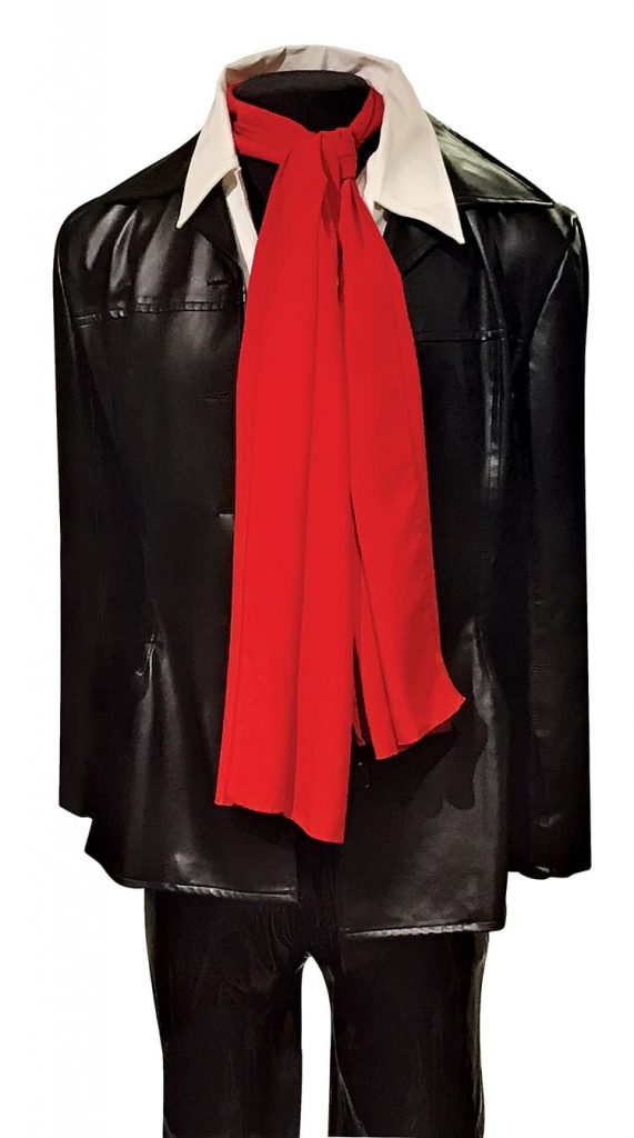 """Twain wore this Prada leather jacket with this scarf and these Tripp faux-leather pants in the 1996 music video for """"You Win My Love"""""""
