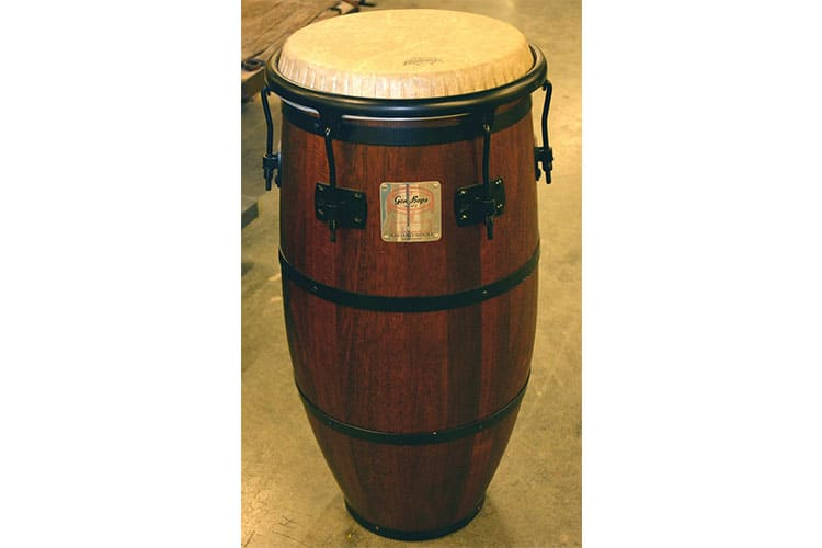 """Daniel de los Reyes played this conga drum in the video for """"Jump Right In."""" Designed by de los Reyes and percussion company Gon Bops, the conga drum is modeled after one used in the 1950s by Daniel's father, Walfredo de los Reyes III, in Havana."""