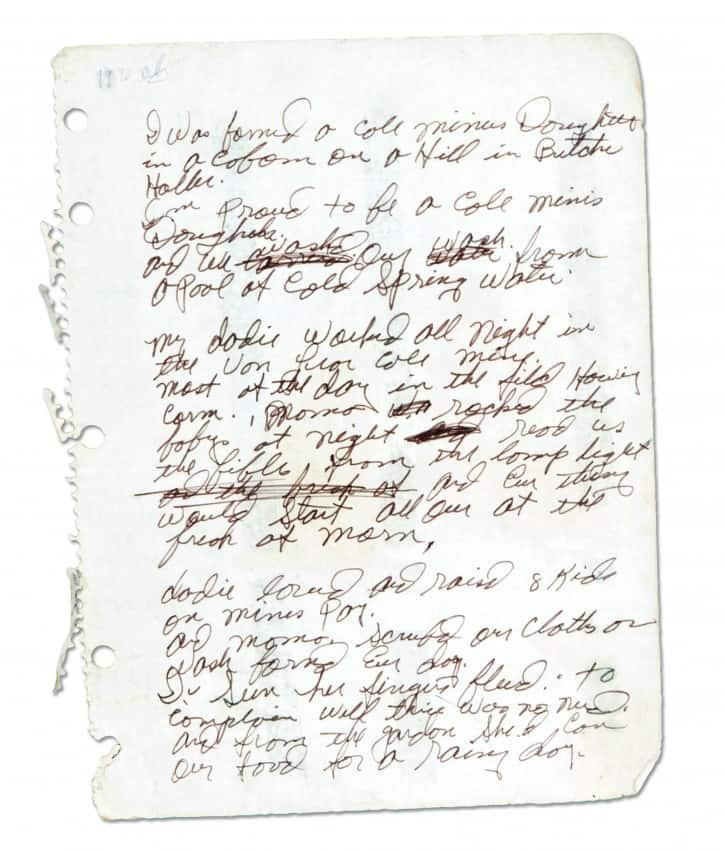 """Lynn's original manuscript for """"Coal Miner's Daughter."""""""