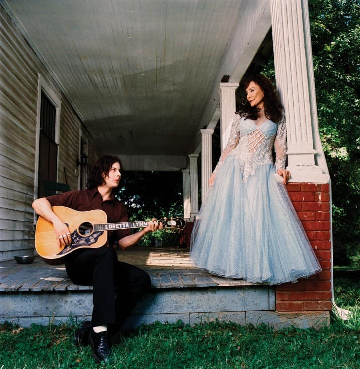 Jack White and Lynn, 2004, outside the East Nashville studio where Van Lear Rose was recorded. Photo courtesy of Third Man Records.