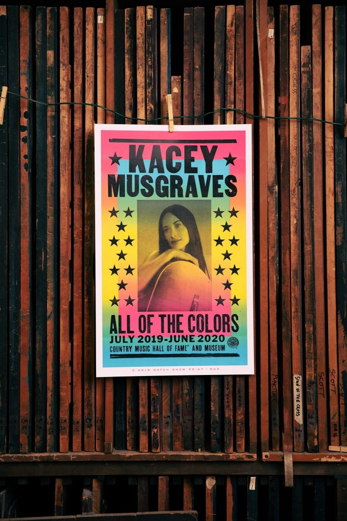Hatch Show Print designed and printed this rainbow-bright letterpress poster to celebrate the launch of Kacey Musgraves: All of the Colors, an exhibition exploring the Grammy-winning singer-songwriter's rising career, critically acclaimed album Golden Hour, and more.