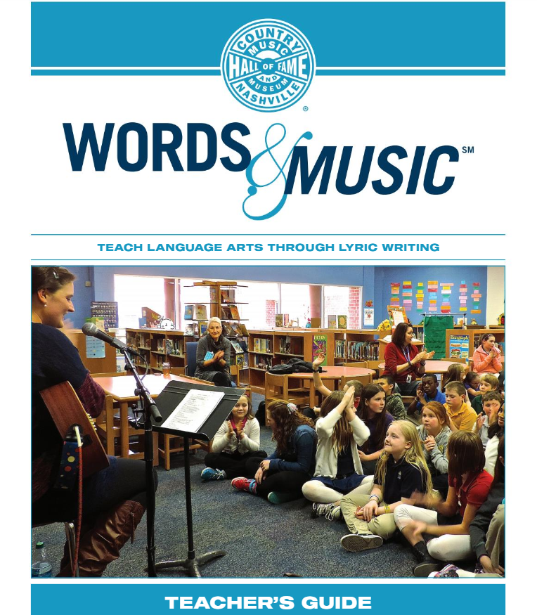 Words and Music teacher guide cover photo - man playing guitar to class.
