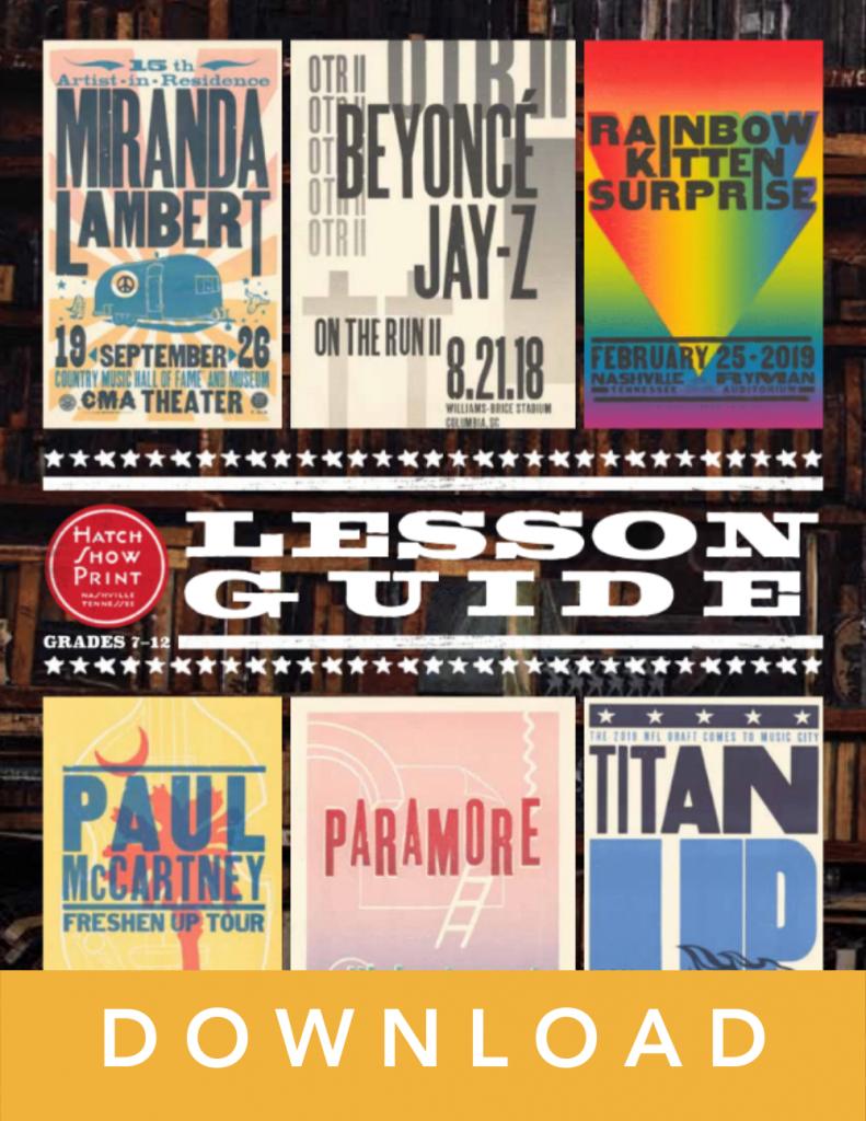 Hatch Show Print lesson guide cover art