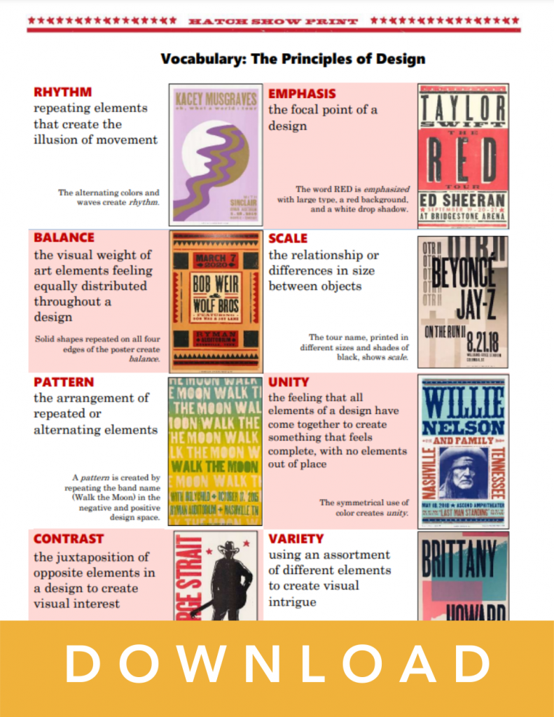 Hatch Show Print vocabulary sheet download