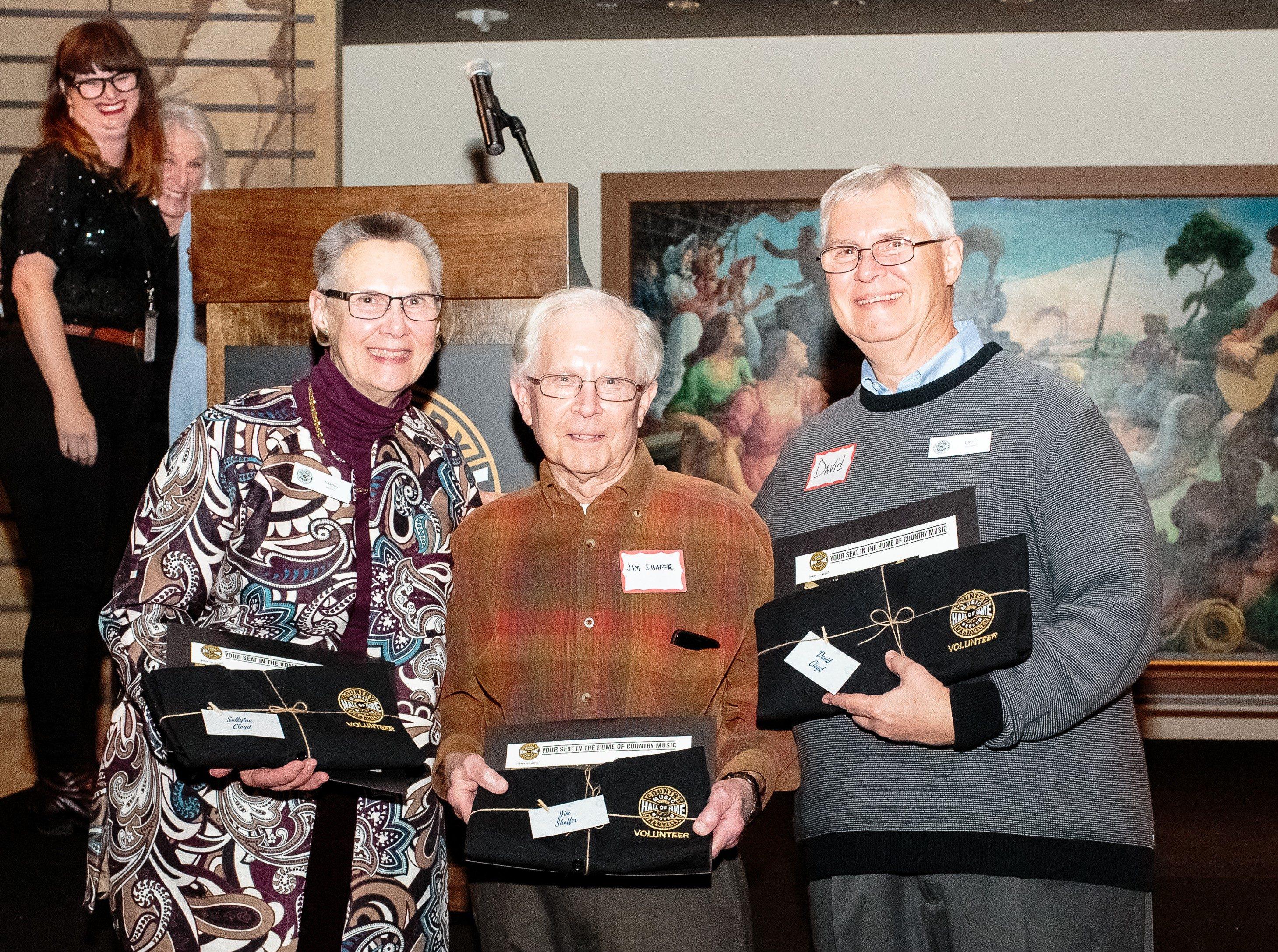 Volunteers Dani Carol, Sallylou Cloyd, Jim Shaffer, David Cloyd pose for photo at Volunteer awards ceremony
