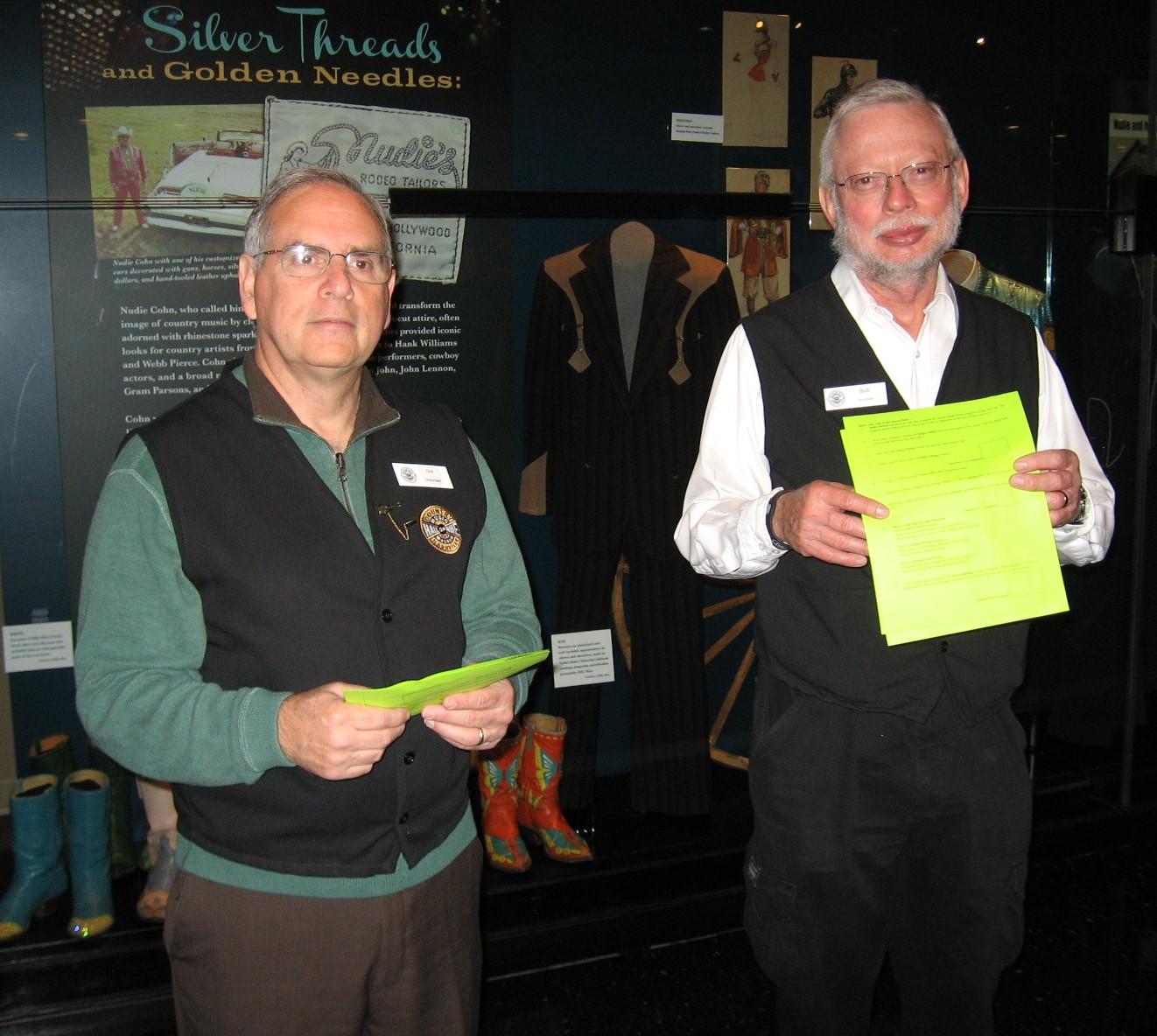 Volunteers Dick Kottler and Bob Petersen in Museum galleries